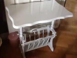 Silver grey magazine side table