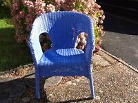Duck egg blue wicker chair