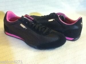 NEW PUMA 76 RUNNER NYLON BLACK / RASPBERRY ROSE WOMENS 7.5 SHOE
