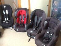Car seats for 9kg upto 18kg(9mths-4yrs)-several available-all checked,fully working,washed&cleaned