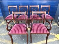 SET OF SIX VINTAGE REGENCY STYLE MAHOGANY DINING CHAIRS - ANTIQUE VINTAGE RETRO