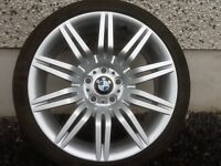 19INCH 5/120 GENUINE BMW SPIDER ALLOY WHEELS WITH WIDER REAR RIMS AND GOOD TYRES,RIMS 8.5REARS 9.5