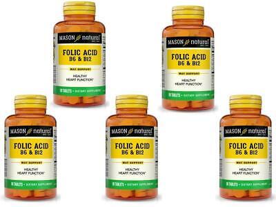 5 x 90 = 450 TABLETS FOLIC ACID VITAMIN & B 6 B12 Heart Health formula BEST