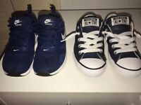 Gorgeous Used Boys Size 12 Nike Trainers + Leather Converse + Free New Size 13 Ben 10