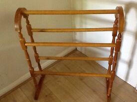 Solid pine free standing towel rail