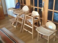 Variety of solid wood Highchairs available- from £15 to £65 -all used in very good &clean condition