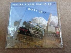 BRITISH STEAM TRAINS CALENDAR AND DIARY 2017 UNUSED