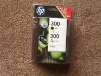 2 PACK HP DESKJET INK CARTIDGES 300 BLACK + TRI-COLOUR ( NOT BEEN OPENED )