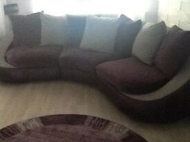 Curved Aubergine and grey sofa set with large footstool