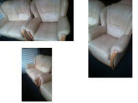 BEAUTIFUL COMPACT 2 SEATER SOFA AND MATCHING CHAIR IN A LOVELY LIGHT BEIGE EXCELLENT CONDITION