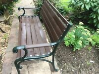 Garden Bench Cast Iron Ends with Wooden Arms