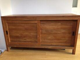 Quality teak sideboard with sliding doors