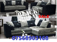 SOFA BOXING DAY CRUSH VELVET RANGE NOW IN 3+2 black and silver 10436