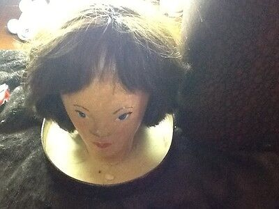 vintage wig hand painted head and old case