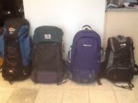 Large rucksacks from 50 litres to 80 litre capacity-several available from £30 upto £45 each