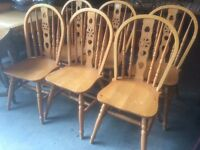 6 pine dining kitchen wooden chairs farmhouse