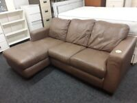 Small brown leather corner suite Copley Mill LOW COST MOVES 2nd Hand Furniture STALYBRIDGE SK15 3DN