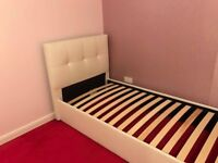 Cream Faux Leather single bed