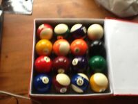 Pool balls and cue
