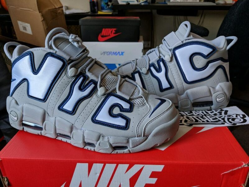 best website 366f9 b99c2 Nike Air More Uptempo NYC City Pack Wolf Grey Navy White Yankee Away  AJ3137-001
