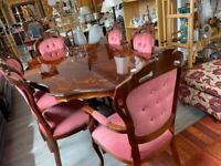 Italian inlaid dining table & 6 chairs