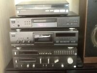 Technic hifi system - amplifier, radio tuner, cassette player, CD player, turntable