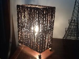 Bedside table lamp. Ratten/Wicker Parkwood Gold Coast City Preview