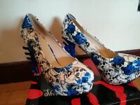 White and blue skull shoes
