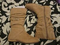 FLAT BEIGE BOOTS SUEDE EFFECT BRAND NEW SIZE 4 BY SHOE FAYRE