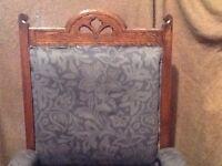 Victorian mid. Oak upholstered chair. Turned legs, castors on front legs.