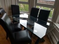 Dining Table- Glass top with wooden base