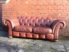 Leather chesterfield 2 seater sofa brown tan leather very good condition £399 can deliver