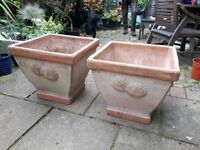 "Two French Terracotta Square Planters x2 with Sunflower detail, light finish, 16"" square."