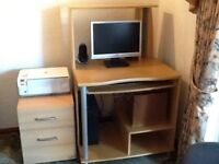 Computer console table and drawer unit