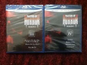 Masters of Horror Season 1 Volume 3 ( III ) & 4 ( IV ) : New / Unopened Blu-ray