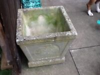 For sale/nice old concrete planter with hedgehog print
