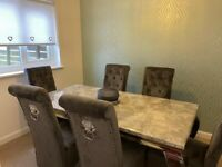 Marble Dining Table & Chairs (ex condition - purchased Nov 2020)