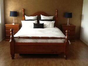 Quality Timber Queen Bed + Bedsides Leppington Camden Area Preview