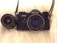 Mamiya nc1000s 35mm film camera and 2 lenses