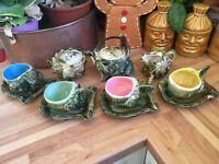 RARE vintage 4 person Majolica Sealife tea service - cups, saucers, teapot, milk and sugar