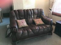 two x seater brown leather sofa