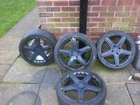 Momo GTR 17' 4x100 alloy wheels + new tyres Vauxhall Renault Honda vw mg Toyota