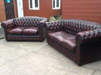 Leather chesterfield suite 3 seater and 2 seater oxblood red timeless chesterfield sofas CAN DELIVER