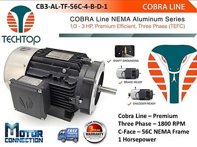 1 Hp Electric Motor Cobra Line 1800rpm Three Phase 56c - C-face