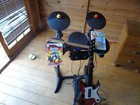 Wii Guitar Hero World Tour with 1 guitar/drums/mic/sticks/ 2games