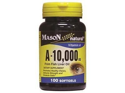 100 Softgels Natural Vitamin A 10 000 Iu 10000 From Fish Liver Oil Vision