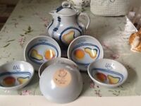 Scottish pottery 1950's Buchan tea/coffee pot. Six sweet dishes perfect condition.