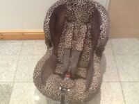 Leopard print design Maxi Cosi Priori group 1 car seat for 9mths to 4yrs-reclines,is washed &cleaned