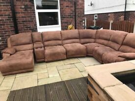 6 seat settee with 2 recliners and fold out double bed