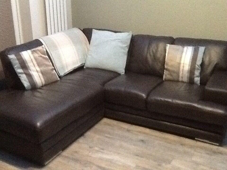 Brown Leather Corner Sofa Leather Coated Fabric Corner